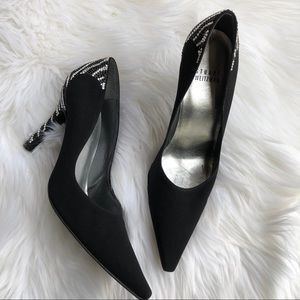 [Stuart Weitzman] Black Studded Point Toe Heel - 6